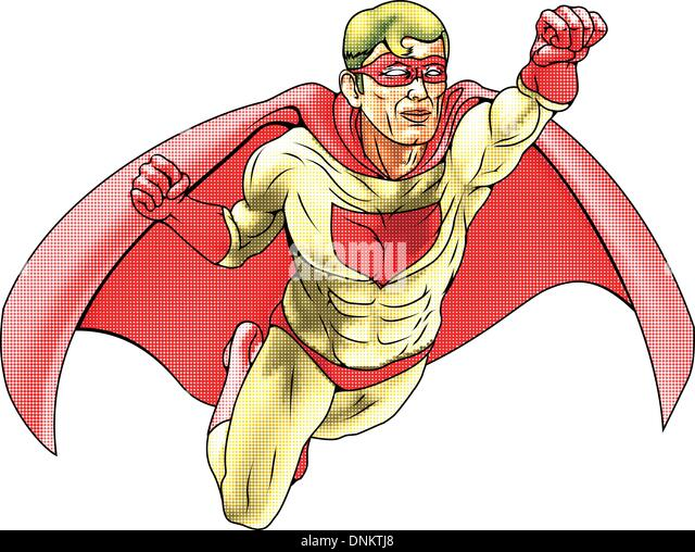 Illustration of  super hero dressed in red and yellow costume and cape flying. Has color haftone style for traditional - Stock Image