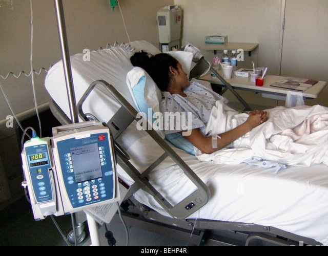 Sick teenaged girl at hospital - Stock-Bilder