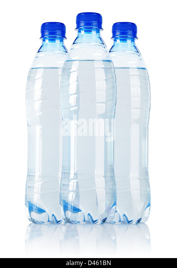 Three Soda water bottle isolated on white background - Stock Image