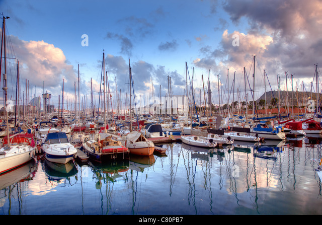 Barcelona harbour, marina, Spain at sunset - Stock Image