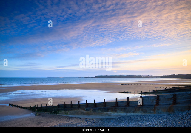 Amroth beach nr Saundersfoot Pembrokeshire Wales at sunset - Stock Image
