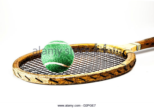 wooden tennis racket - Stock Image