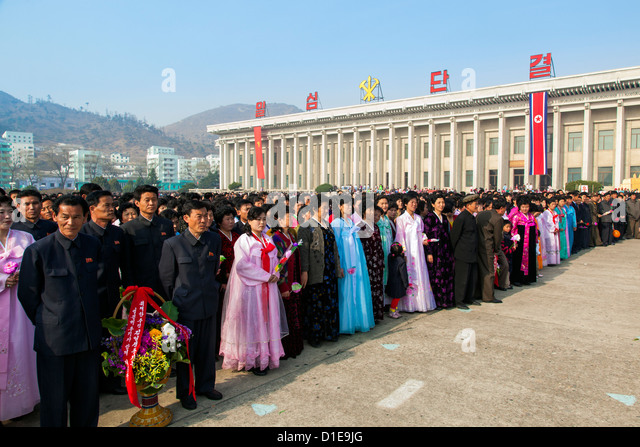 Celebrations on the 100th anniversary of the birth of President Kim Il Sung on April 15th 2012, Pyongshong, North - Stock Image
