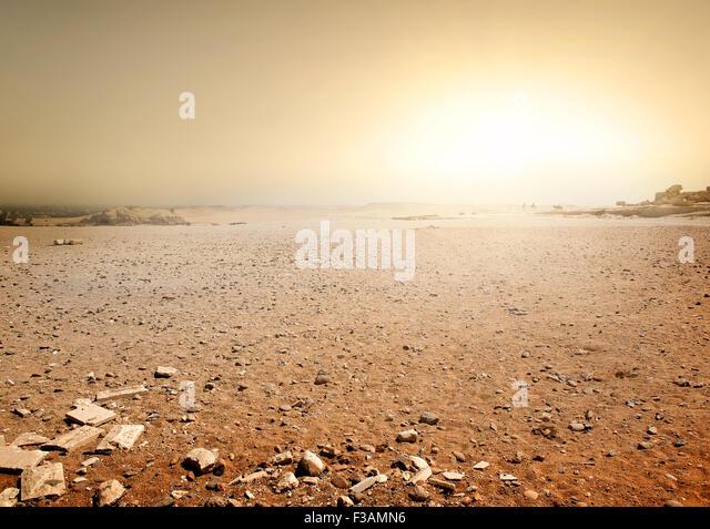 Sandy desert in Egypt at the sunset - Stock Image