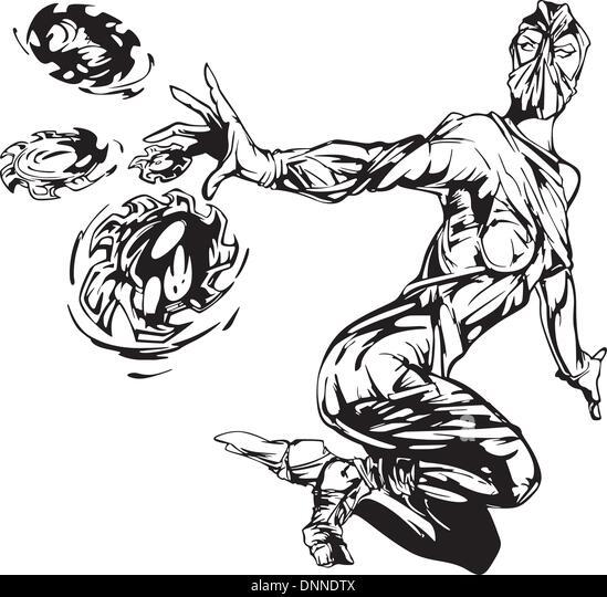 Ninja girl. Black and white vector illustration. - Stock-Bilder