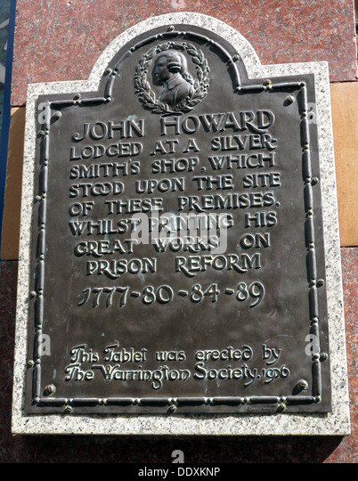 John Howard Plaque, Lodged at a silversmiths shop - Prison Reformer - Stock Image