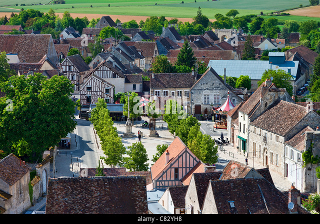 France, Seine et Marne, Provins, listed as World Heritage by UNESCO, High angle view of houses - Stock-Bilder