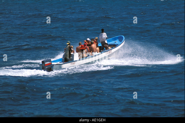 Humpback whale watching boat Samana Peninsula Dominican Republic - Stock Image