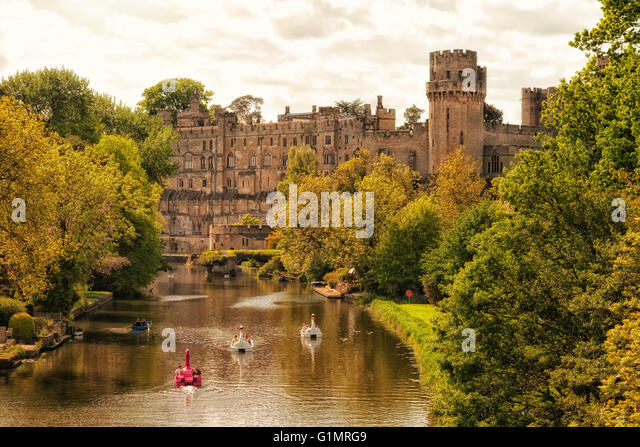 Warwick Castle and the River Avon, Warwickshire, England UK - Stock Image