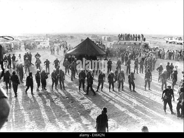 Disengagement talks to end the Arab Israeli (Yom Kippur War 1973), on October 28, 1973, at 'Kilometre 101' - Stock Image