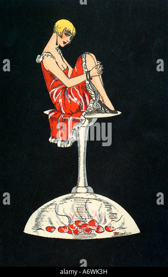 Champagne Valentine A lovely 1920s card design with a winsome girl sitting on an upturned champagne glass - Stock Image