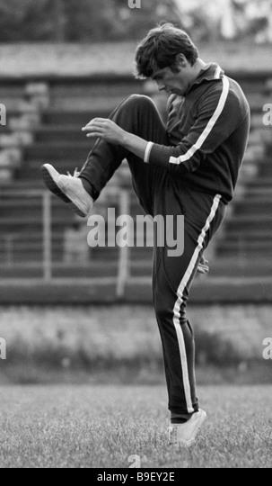 Soviet national football team half back Vladimir Muntian training - Stock Image