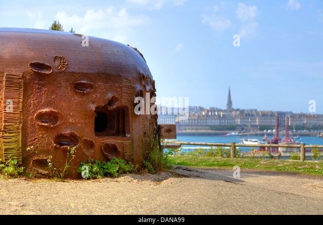 bunker with bomb impacts in Saint-Malo, Brittany, France - Stock Image