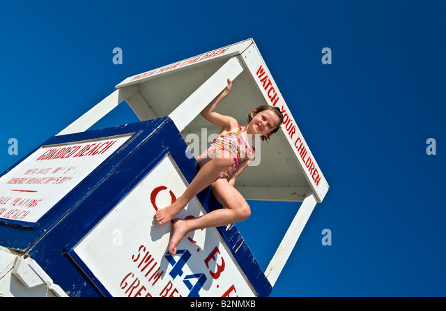 Portrait of a girl enjoying a day at the beach Ocean City New Jersey USA - Stock Image