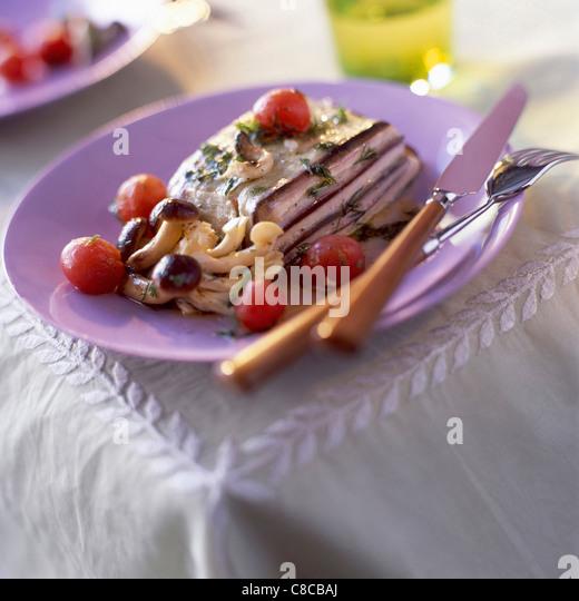 layered aubergine and swordfish - Stock Image