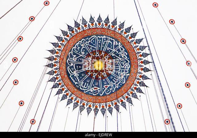 Ceiling decoration of Rustem Pasha Mosque in Istanbul, Turkey. - Stock Image