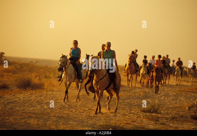 Aruba Tourists on Horseback near Sunset - Stock Image
