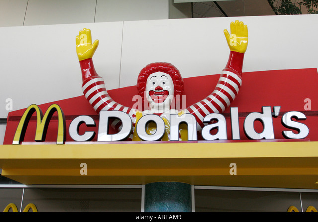 New Jersey Newark Airport McDonald's Restaurant Ronald entrance sign fast food - Stock Image