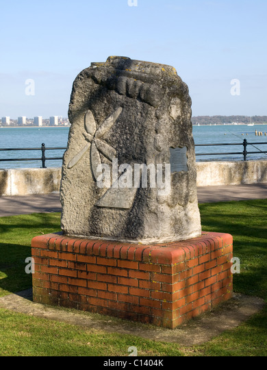 Memorial to Hovercraft inventor Sir Christopher Cockerell Hythe Hampshire England UK - Stock Image