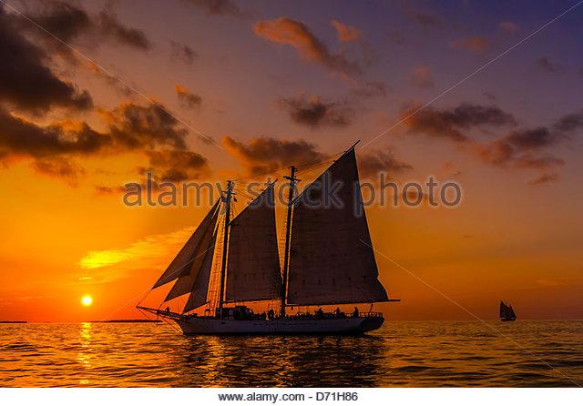 The schooner Western Union at sunset, off Key West, Florida Keys, Florida USA - Stock Image