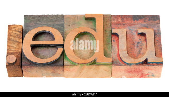dot edu - internet domain extension for educational institutions in vintage wooden letterpress printing blocks - Stock Image