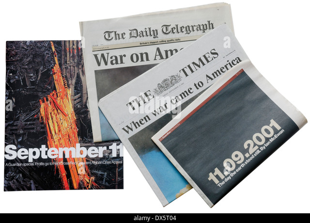 English newspapers from 11th September 2001 announcing the attacks on New York - Stock Image
