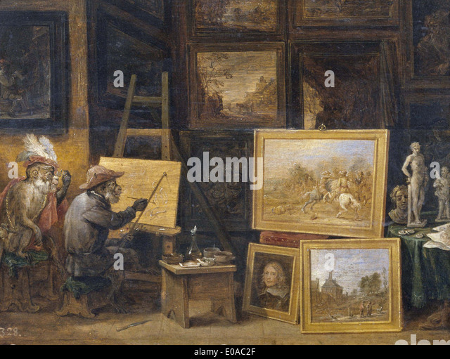 David Teniers Monkeys at School - Stock Image
