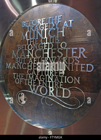 MUFC,Munich memorial,Old Trafford, Manchester United,England,UK.'Before the Tragedy at Munich, the club belonged - Stock Image