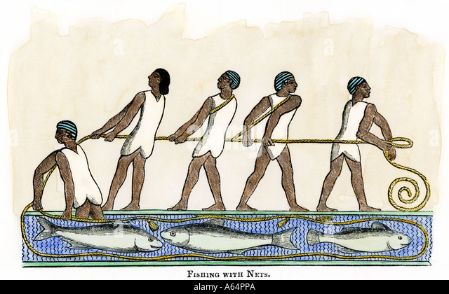 Fishing with nets in ancient Egypt - Stock Image