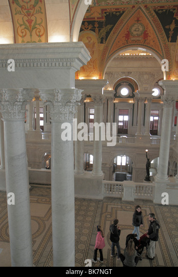 Washington DC Capitol Hill Library of Congress Thomas Jefferson Building Beaux-Arts architecture Great Hall ornate - Stock Image