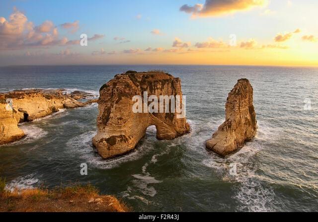 Pigeon Rock, Beirut - Stock Image