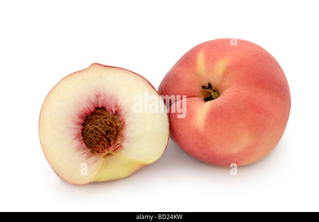 White Peaches, White-fleshed Peach (prunus persica) - Stock Image