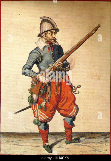 A Dutch musketeer, holding a musket by Jacob van Gheyn in 1608 - Stock-Bilder