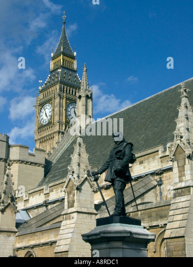 Oliver Cromwell Statue and Big  Ben, Saint, St, Stephens, Tower,  London, England, English, famous, landmark,  historical, - Stock Image