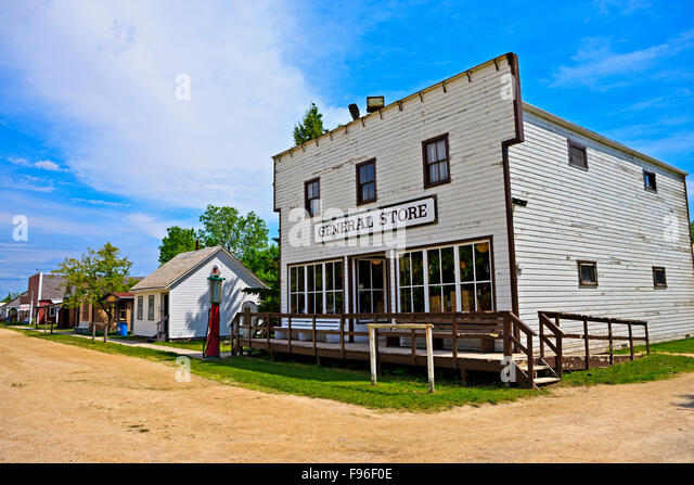 General Store along a village street, Mennonite Heritage Village, Steinbach, Manitoba, Canada - Stock Image