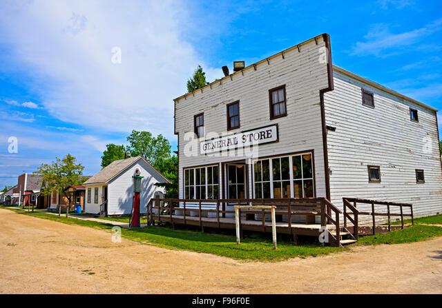 General Store along a village street, Mennonite Heritage Village, Steinbach, Manitoba, Canada - Stock Image