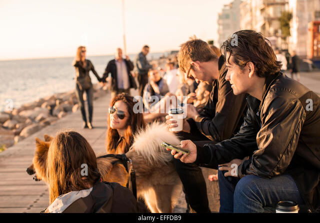 Friends with dog spending leisure time by sea - Stock Image