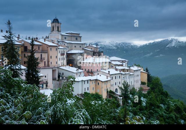 Abeto in the snow in late May, Valnerina, Umbria, Italy - Stock Image