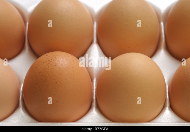 Close up of Brown eggs in carton - Stock Image