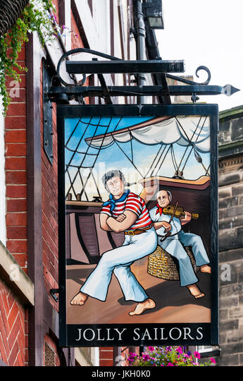 Sign for the Jolly Sailors pub in Whitby. - Stock Image