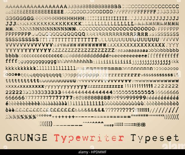 Grunge semisans typewriter font. many alternatives for each glyph - Stock Image
