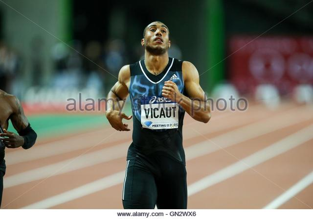 Saint Denis, France. 27th Aug, 2016. France's Jimmy Vicaut crosses the finish line after the men's 100m - Stock Image