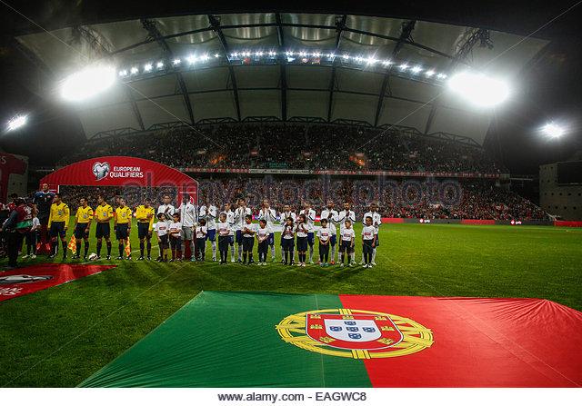 Algarve, Portugal. 14th November, 2014. PORTUGAL, Faro: Team of Portugal before the UEFA EURO 2016 FRANCE, Qualifying - Stock Image
