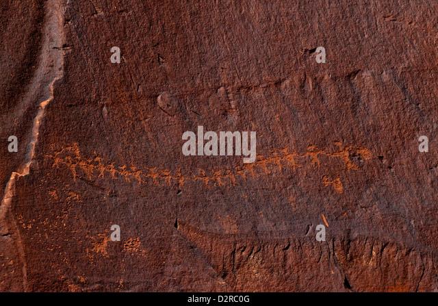 Paper doll cutouts, Formative Period Petroglyphs, Utah Scenic Byway 279, Potash Road, Rock Art Sites, Moab, Utah, - Stock Image
