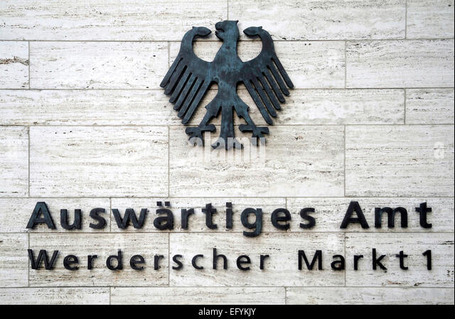 Authority signpost of the Foreign Office of the Federal Republic of Germany on the Werderschen Markt in Berlin. - Stock Image