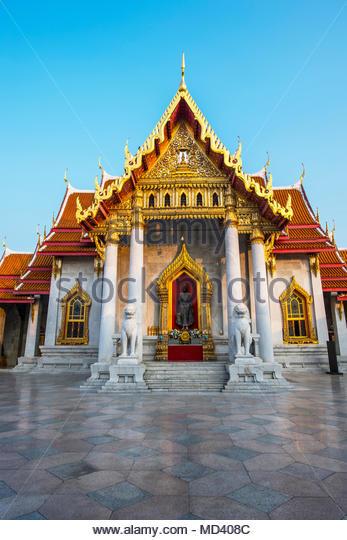 Wat Benchamabophit, the marble temple, Bangkok, Thailand - Stock Image