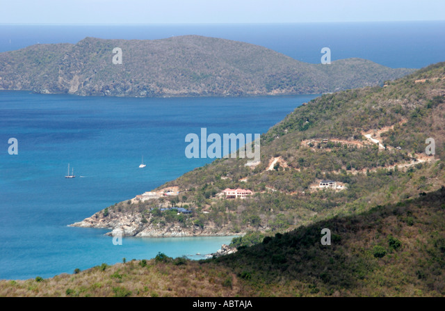 BVI Tortola Ridge Road North Shore Atlantic Ocean Stoney Bay Point - Stock Image