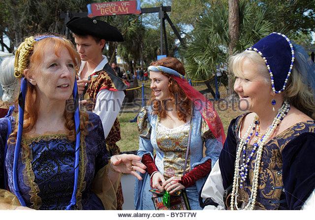 Deerfield Beach Florida Quiet Waters Park Florida Renaissance Festival costume senior woman women - Stock Image