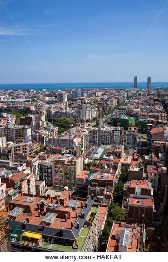 Overview of Rooftops from La Sagrada Familia in Barcelona, Spain - Stock Image