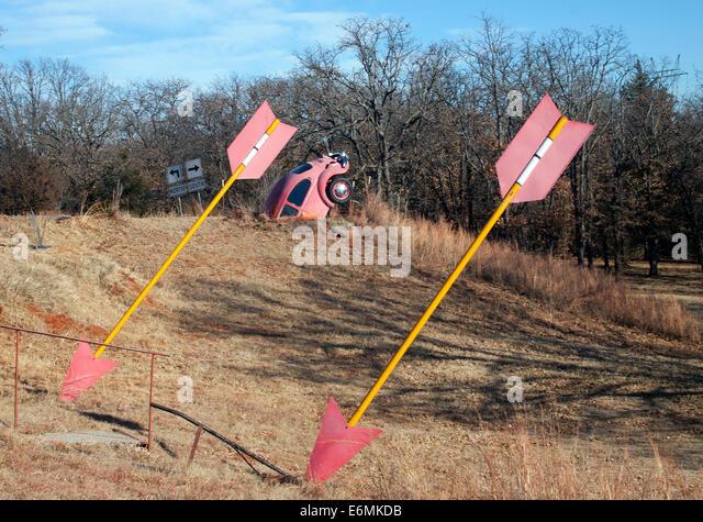 OK County Route 66 art in Arcadia Oklahoma - Stock Image